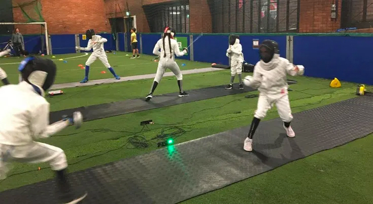 Brixton childrens' fencing sessions resume with support from the Leus Family Foundation